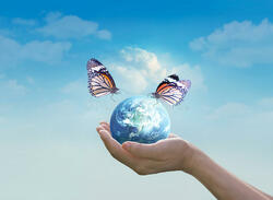 woman holding planet earth butterfly hands clean blue sky background elements image furnished nasa 84033200